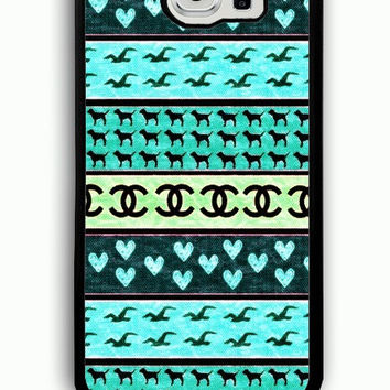 Samsung Galaxy S6 Case - Rubber (TPU) Cover with red hollister seagulls chanel sign hearts stripes Rubber case Design