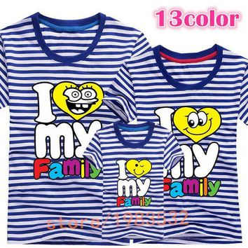CREYHY3 I love my Family T Shirts Summer Family Matching Clothes Father Mother Kids Children Outfits New Cotton Tees Free Drop Shipping