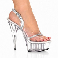 6 Inch High Heels Sexy Crystal Noble Diamond Chain Open Toe Sandals Full Transparent 15cm High-Heeled Shoe