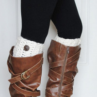 Crochet Boot Cuffs in Off White w/ Button