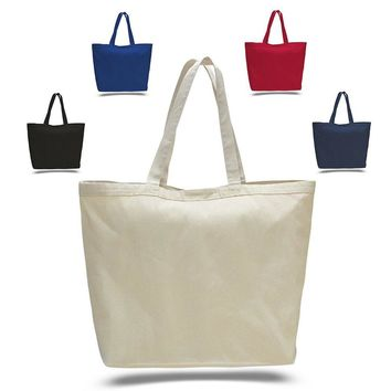 BagzDepot Large Canvas Tote Bags - 12 Pack Heavy Duty Blank Canvas Bag with Hook and Loop Closure for Crafts Grocery Shopping Beach and More