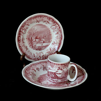 Spode Winter's Eve Red Transferware 3 Odd Pieces | Mug , Large Rim Soup Bowl , Salad Plate | Discontinued Spode China | Made in England