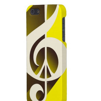 Yellow iPhone Case, iPhone 5, 4S, 4, 3GS, or 3G, Sunshine, Music, Peace Sign, Black, Cream, Music Lover, Lemon Yellow