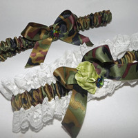 Camo and Lace Bling Camouflage Wedding Garter Set