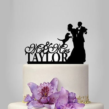 Personalized Wedding Cake Topper | Bride and Groom Wedding Silhouette dance Cake Topper with Dog Wedding Cake Toppers | Dog Cake Topper | mr
