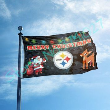 Pittsburgh Steelers Merry Christmas Flag Large Outdoor Flag 3' x 5' Flag Banner brass metal holes Flag