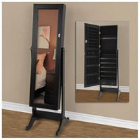 Rakuten.com:Best Choice Products|Black Mirrored Jewelry Cabinet Amoire w Stand Mirror Rings, Necklaces, Bracelets|Uncategorized