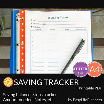 SAVINGS TRACKER PDF. A4 and Letter Size. Printable family budget organizer, financial binder. Money Savings Goal Planner. Instant Download.
