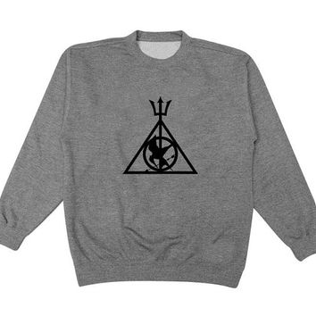 the godly mockingjay sweater Gray Sweatshirt Crewneck Men or Women for Unisex Size with variant colour
