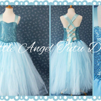 Frozen Princess Elsa Inspired Floor Length Dress - Blue Tutu Flower Girl Tutu - Girls Age 2 3 4 5 6 7 8 9 10 11