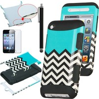 Pandamimi ULAK(TM) 3-Piece Hybrid High Impact Case Black and White Wave Pattern Black Soft Silicone for Apple iPod Touch Generation 4 and Screen Protector with Stylus