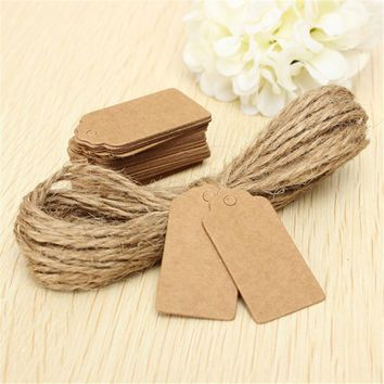 100X Brown Kraft Paper Wedding Note+String Tags Lace Scallop Head Label Luggage DIY Blank price Hang Tag Kraft Gift Hang tag