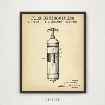 Fire Extinguisher Patent Printable, Firefighter Print, Fire Extinguisher Vintage Wall Art, Fireman Gift, Fireman Poster, Fire House Decor