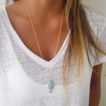 Amazonite and Gold Necklace; Long Gold Necklace; Boho Gold Neclaces; Layering Long Gold Necklace