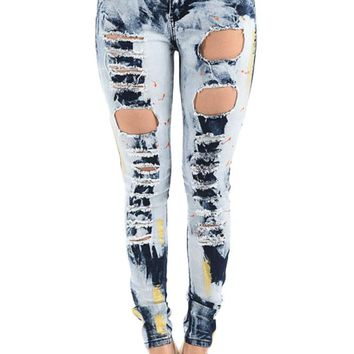 Women's High Rise Destroyed Acid Wash Skinny Jeans RJH851 - KK4C