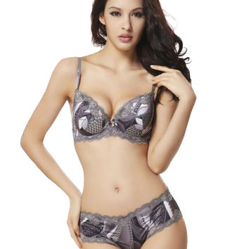 2015 Autumn Brand Lingerie Sexy Bra Set Big Cup Bras For Women Ladies Underwear Lace cheekinies Panties 75 80 85 90 C D