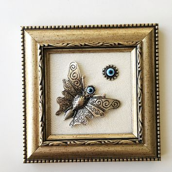 Butterfly wall décor - frame wall decal - evil eye wall hanging - butterfly décor