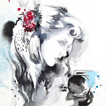 Original Vintage Inspired Fashion Illustration Watercolor Painting by Lana