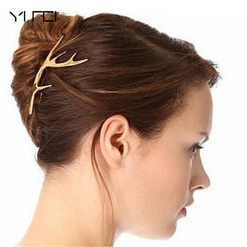 YIFEI 2017 New Headband Hair Accessories Headpiece Boho Hot 1PC Cute Gold Elk Antler Hair Cuff Clip