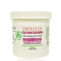10 Oz Organic Cocojojo Cold Sugaring Wax Hair Removal Paste to Use with Strips NEW Formula with Argan and Teatree Oil - Semi Soft Sugaring Paste + How to Use Brochure