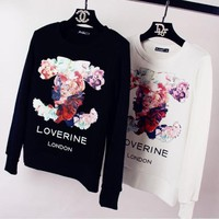Channel Fashion Flower Logo Print Long Sleeve Top Sweater Pullover