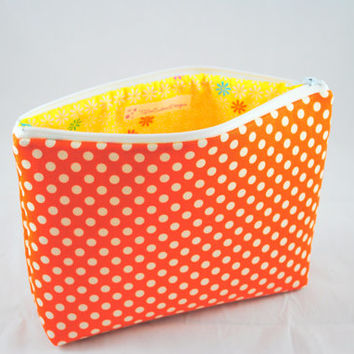 Orange and White Polka Dot Cosmetic Bag // Orange and White Make Up Pouch // Polka Dot Zippered Pouch // Cosmetic Case // Make Up Storage