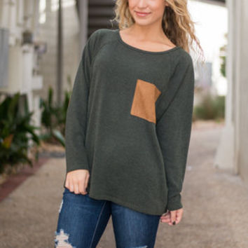 Book Club Babe Sweater, Olive