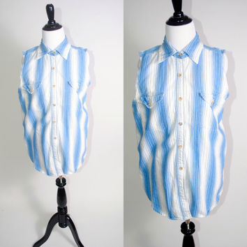 Vintage 1990s Blue White striped Cotton DENIM Button Down sleeveless grunge preppy long shirt blouse pockets