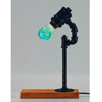 Water Piping Desk Top Table Lamp Wood Base