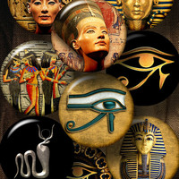 "Ancient Egypt, Nefertiti, Eye of Horus - 2.625"" circles for 2.25"" Pocket Mirrors, Buttons - Printable Digital Collage Sheets CG-984"