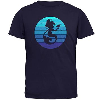 Mermaid Retro Ocean Blues Mens T Shirt