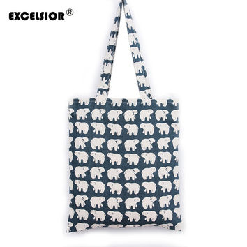 EXCELSIOR Ladies Cute Cartoon Bear Handbags Single Shoulder Canvas Bags Simple Style ECO Shopping Tote Bolsa Feminina Bech Bag