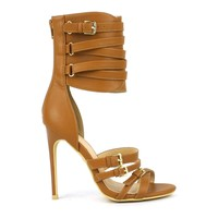 Fahrenheit Joan-01 Ankle-Cuff High Heel Sandal in Tan @ ippolitan.com