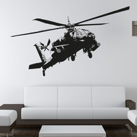 Vinyl Wall Decal Sticker Apache Helicopter #OS_AA720
