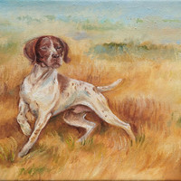 DOG PORTRAIT, Original Oil Painting, Autumn Landscape with Pointing Dog , POINTER, Gun dog, Hand painted, Framed,
