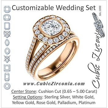 CZ Wedding Set, featuring The Maricela engagement ring (Customizable Bezel-Halo Cushion Cut Ring with Wide Tapered Pavé Split Band & Decorative Trellis)