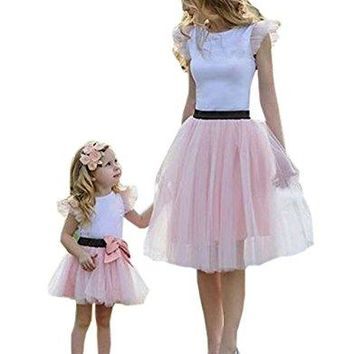 Family Matching Mom Baby Girls White Tshirt Top and Pink Tutu Skirt Clothing Sets