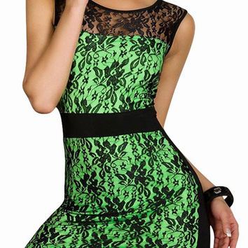 Fluorescent Green Sleeveless  Floral Lace Mini Dress