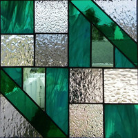 Stained glass window, Stained Glass Suncatcher, Stained Glass Panel, Quilt Square in teals, gray, iridescent clear