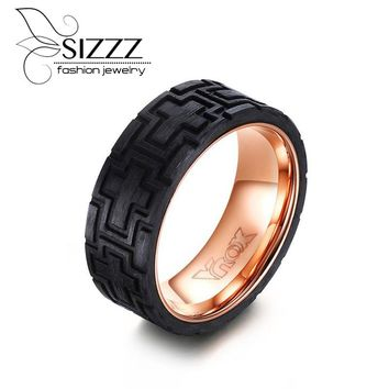 SIZZZ Men Ring Stainless Steel Carved Forged Carbon Fiber Rose Wedding Band Men's Jewelry
