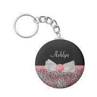 Trendy Yellow Cheetah Print Fancy Bow and Name Basic Round Button Keychain