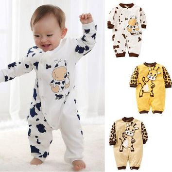 New Baby Winter Autumn Clothes Cute Cow Newborn Girls Boys Clothes Baby Outfit Infant Romper Clothes 0-24M AU