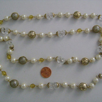 Lovely Vintage Faux Pearls Golden Filigree Metal Faceted Clear & Amber Colored Lucite/Plastic Beads Station Flapper Necklace 46 Inches Long