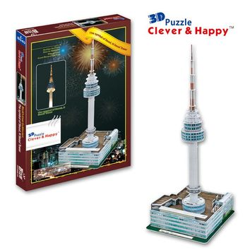 new clever&happy land  3d puzzle model The Symbol Of Seoul,N Seoul Tower  adult puzzle diy paper model educational toys paper