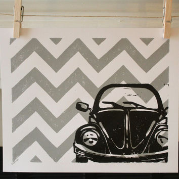 Retro VW Bug with Chevron Pattern, 8x10 Silver and Black