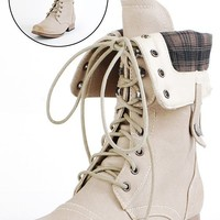 Jetta25 Combat Back Zip Mid Calf Boots NATURAL - Ankle Boots - Boots - Shop