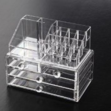 Cosmetic Organizer And Makeup Storage - Best High Quality Clear Acrylic Case For Your Beauty Products & Jewlery - This Box Acts as a Great Holder For All of Your Make-Up Items and You Will Love It! - Backed By 100% No Risk Guarantee