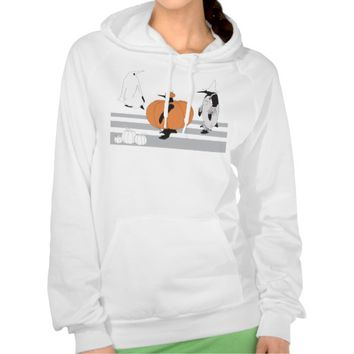 Penguins in the Pumpkin Patch Funny Halloween Hooded Sweatshirts