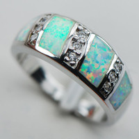 White Opal Sapphire 925 Sterling Silver Gemstone Ring Size 6 7 8 9 10 [9819397711]