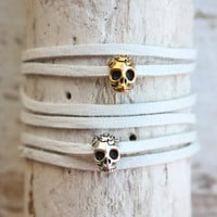 tenthings leather boho skull wrap bracelet by TenThings on Etsy
